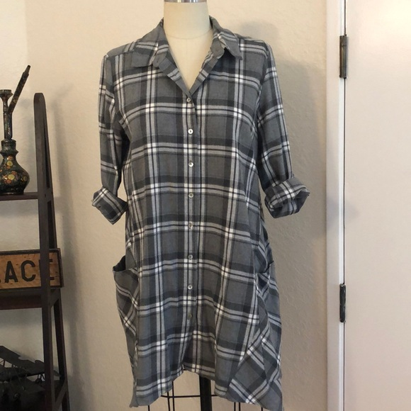 Zara Dresses & Skirts - ZARA | Grey Plaid Buttonup shirt dress